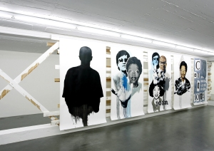 """Daniela Brahm Community, 2006 wooden structure, paint, """"Proclamation Poster / freedom"""", oil on primed paper"""