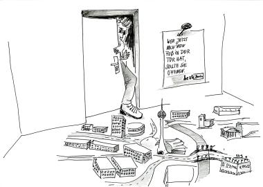 """Daniela Brahm """"Wer jetzt noch den Fuß in der Tür hat, sollte sie öffnen... BE BERLIN"""" 2015 ink and pencil on paper, 21 x 29.7 cm"""