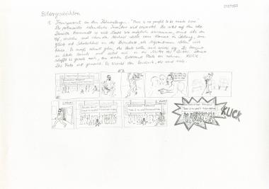 "Daniela Brahm ""ExRotaprint Bildergeschichten / #1 photo shooting"" 2011-12 ink and pencil on paper, 29.7 x 42 cm"