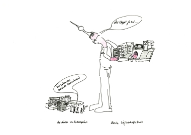 """Daniela Brahm """"We want to buy the premises. – That will never work out."""" 2016 ink and pencil on paper, 21 x 29.7 cm"""