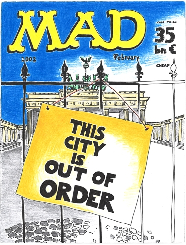 """Daniela Brahm """"MAD Berlin – This City is out of Order"""" 2016 ink and pencil on paper, 29.7 x 42 cm"""