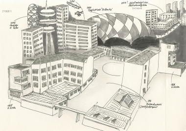 """Daniela Brahm """"Predictible gentrification in the ExRotaprint neigborhood"""" 2014 ink and pencil on paper, 29.7 x 42 cm"""