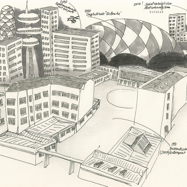"Daniela Brahm ""Predictible gentrification in the ExRotaprint neigborhood"" 2014 ink and pencil on paper, 29.7 x 42 cm"