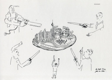 """Daniela Brahm """"Die Stadt-Pizza, jeder ein Stück / The City Pizza – one slice for everyone"""" 2015 ink and pencil on paper, 29.7 x 42 cm"""