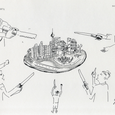 "Daniela Brahm ""Die Stadt-Pizza, jeder ein Stück / The City Pizza – one slice for everyone"" 2015 ink and pencil on paper, 29.7 x 42 cm"