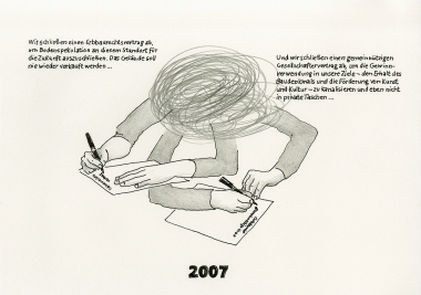 """Daniela Brahm """"2007 – signing two contract, the heritable building right contract and the ExRotaprint partnership agreement"""" 2013 ink and pencil on paper, 21 x 29.7 cm"""