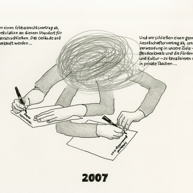 "Daniela Brahm ""2007 – signing two contract, the heritable building right contract and the ExRotaprint partnership agreement"" 2013 ink and pencil on paper, 21 x 29.7 cm"