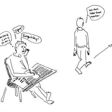 """Daniela Brahm """"Wirtschaftlichkeitsberechnung?... Ich mach doch lieber Kunst / Economic Efficiency Calculation? ... I prefer making Art"""" 2015 ink and pencil on paper, 21 x 29.7 cm"""