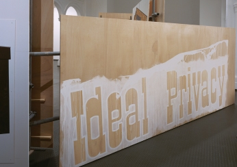 Daniela Brahm Highrise, 2005 spatial structure of scaffolding and plywood combining backstage material, text and paintings