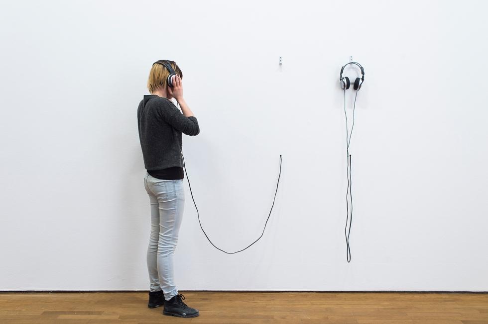 """Daniela Brahm """"eins und eins sind eins"""" (one plus one equals one) 2009 (with Les Schliesser), in: """"HLYSNAN: The Notion and Politics of Listening"""" 2014, Casino Luxembourg, LUX"""