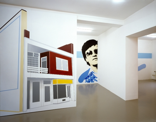 "Daniela Brahm NIMBY - Not In My Backyard, 2001 Mirko Mayer Gallery, Cologne ""Residually"" oil on Forex on framework, 305 x 270 cm ""Participant / Mr Yap #2"" oil on Forex, cutouts, approx. 240 x 370 cm"