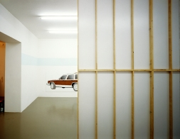 "Daniela Brahm NIMBY - Not In My Backyard, 2001 Mirko Mayer Gallery, Cologne ""Familiar"" oil on wood, 110 x 300 cm"