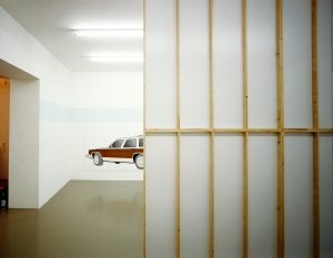 "Daniela Brahm NIMBY - Not In My Backyard, 2001 Mirko Mayer Gallery, Cologne ""Familiar"" oil on wood, 110 x 300 cm"