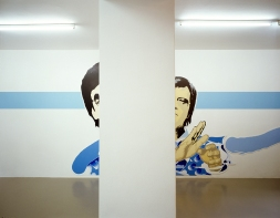 "Daniela Brahm NIMBY - Not In My Backyard, 2001 Mirko Mayer Gallery, Cologne ""Participant / Mr Yap #1 and #2"" oil on Forex, cutouts, emulsion on wall"