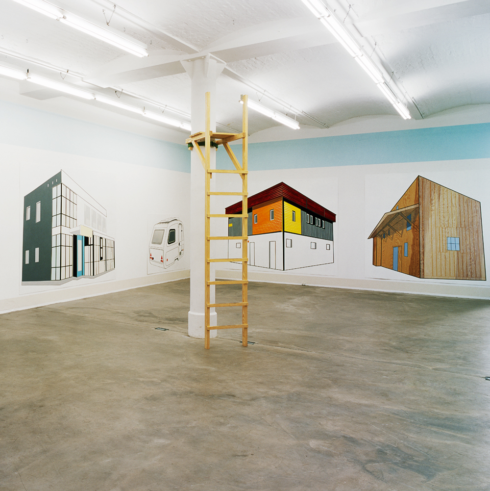 """Daniela Brahm our place, 2000 Barbara Thumm Gallery, Berlin Paintings from the series """"Ideal Privacy"""", emulsion on wall, raised hide"""
