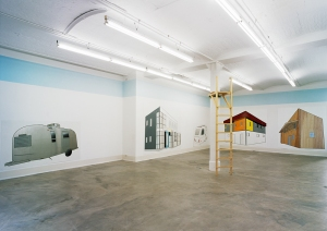 """Daniela Brahm our place, 2000 Barbara Thumm Gallery, Berlin Paintings from the series """"Ideal Privacy"""", emulsion on wall, raised hide (photo: David Brandt)"""