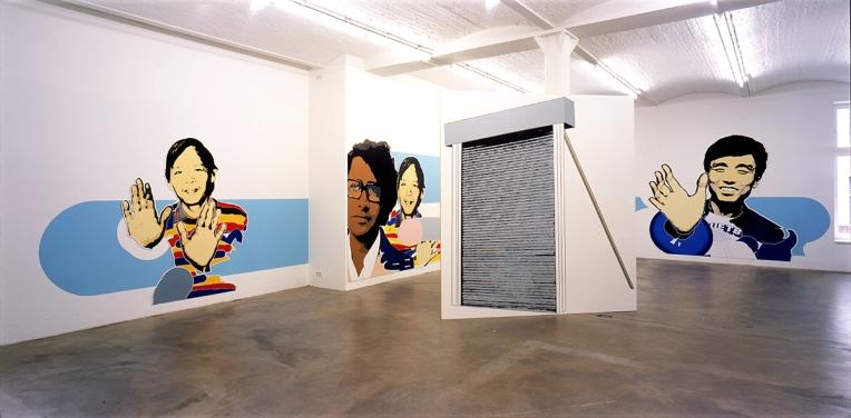 "Daniela Brahm ""Participation City"" 2002 Barbara Thumm Gallery, Berlin ""Participants"", emulsion on wall, free-standing ""Rebuff"" (photo: David Brandt)"