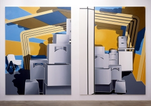 "Daniela Brahm Participation City, 2002 Barbara Thumm Gallery, Berlin ""Inner Condition # 2.1 / # 2.2"" Oil on Canvas, 280 x 210 cm each"