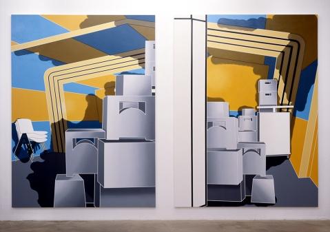 "Daniela Brahm Participation City, 2002 Barbara Thumm Gallery, Berlin ""Inner Condition # 2.1 / # 2.2"" Oil on Canvas, 280 x 210 cm each"
