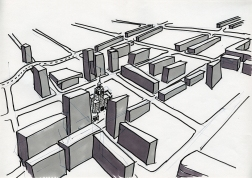 "Daniela Brahm_""Warsaw fighting city / city map"" 2009, marker and ballpen on paper, 29,7 x 42 cm"