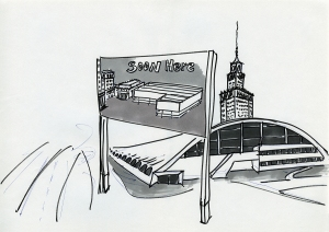 "Daniela Brahm_""Warsaw fighting city / soon here"" 2009, marker on paper, 29,7 x 42 cm"