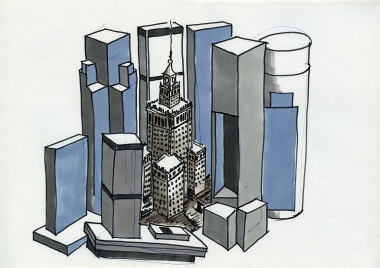 "Daniela Brahm_""Warsaw fighting city / skyscrapers"" 2009, marker and ballpen on paper, 29,7 x 42 cm"