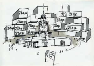 "Daniela Brahm_""Warsaw fighting city / shop shop"" 2009, marker and ballpen on paper, 29,7 x 42 cm"