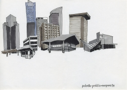 "Daniela Brahm_""Warsaw fighting city / public, private, corporate"" 2009, marker on paper, 29,7 x 42 cm"