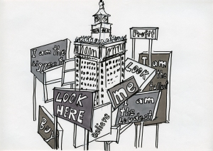 "Daniela Brahm_""Warsaw fighting city / look here"" 2009, marker and ballpen on paper, 29,7 x 42 cm"
